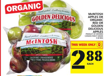 Mcintosh Apples Or Organic Red Or Golden Delicious Apples