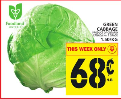 Green Cabbage Or 1.50/kg