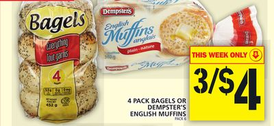 4 Pack Bagels Or Dempster's English Muffins