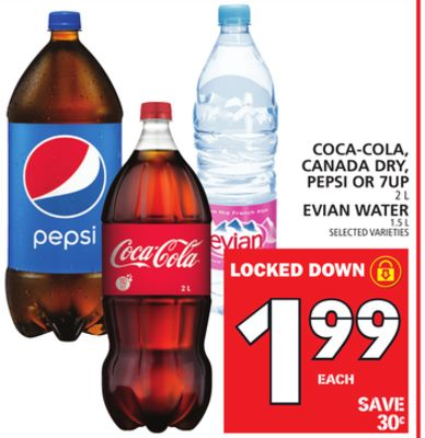 Coca-cola - Canada Dry - Pepsi Or 7up Or Evian Water