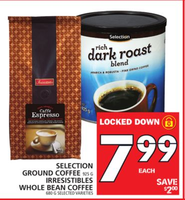 Selection Ground Coffee Or Irresistibles Whole Bean Coffee