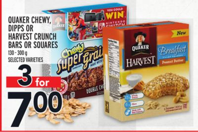 Quaker Chewy - Dipps Or Harvest Crunch Bars Or Squares