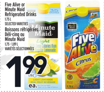 Five Alive or Minute Maid Refrigerated Drinks