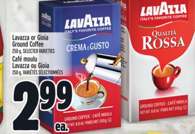 Lavazza or Gioia Ground Coffee