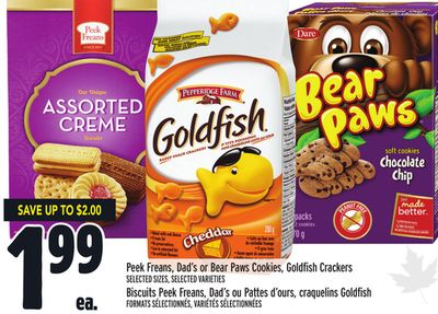 Peek Freans - Dad's or Bear Paws Cookies - Goldfish Crackers