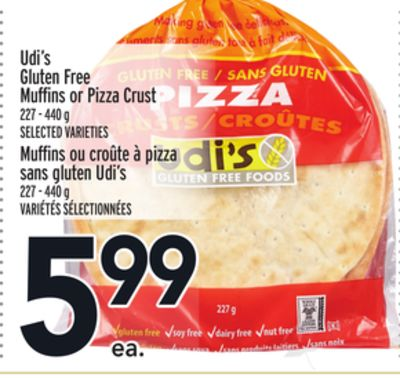 Udi's Gluten Free Muffins or Pizza Crust