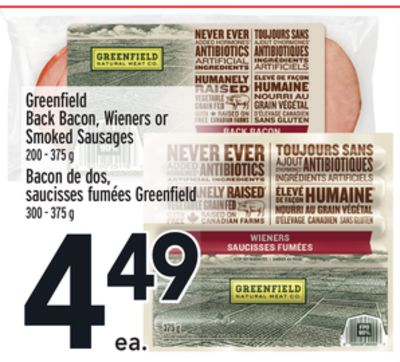 Greenfield Back Bacon - Wieners or Smoked Sausages