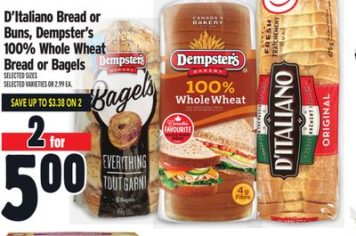 D'italiano Bread or Buns - Dempster's 100% Whole Wheat Bread or Bagels