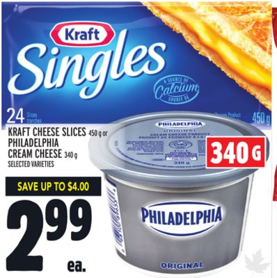 Kraft Cheese Slices 450 g or Philadelphia Cream Cheese 340 g