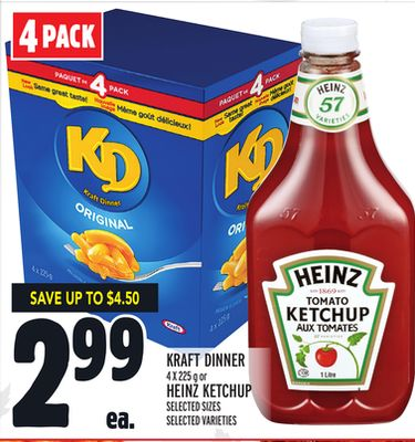Kraft Dinner 4 X 225 g or Heinz Ketchup