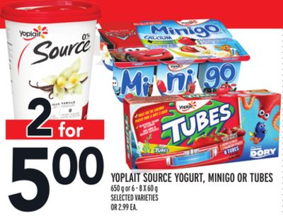 Yoplait Source Yogurt - Minigo Or Tubes