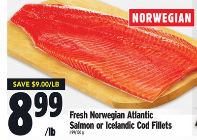 Fresh Norwegian Atlantic Salmon or Icelandic Cod Fillets