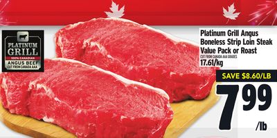 Platinum Grill Angus Boneless Strip Loin Steak Value Pack or Roast