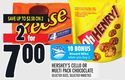 Hershey's Cello Or Multi Pack Chococlate