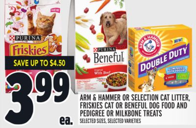 Arm & Hammer Or Selection Cat Litter - Friskies Cat Or Beneful Dog Food And Pedigree Or Milkbone Treats