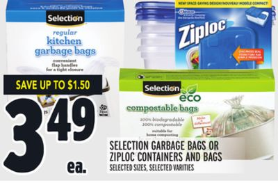 Selection Garbage Bags Or Ziploc Containers And Bags