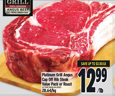 Platinum Grill Angus Cap Off Rib Steak Value Pack or Roast