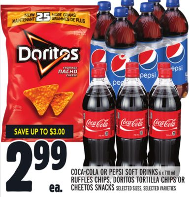 Coca-cola Or Pepsi Soft Drinks 6 X 710 ml Ruffles Chips - Doritos Tortilla Chips Or Cheetos Snacks