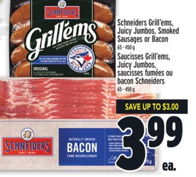Schneiders Grill'ems - Juicy Jumbos - Smoked Sausages or Bacon