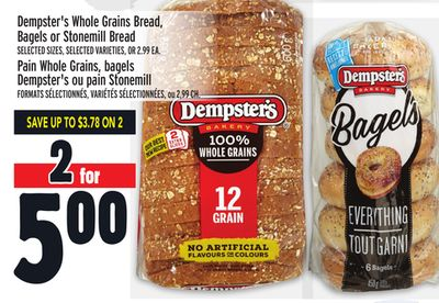Dempster's Whole Grains Bread - Bagels or Stonemill Bread