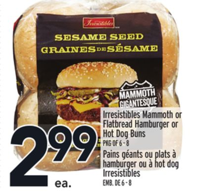 Irresistibles Mammoth or Flatbread Hamburger or Hot Dog Buns