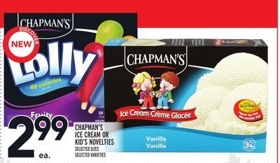 Chapman's Ice Cream Or Kid's Novelties