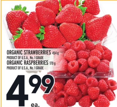 Organic Strawberries 454 g Product Of U.S.A. - No. 1 Grade Or Organic Raspberries 170 g Product Of U.S.A. - No. 1 Grade