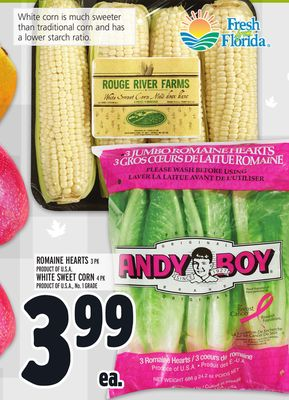 Romaine Hearts 3 Pk or White Sweet Corn 4 Pk
