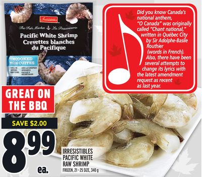Irresistibles Pacific White Raw Shrimp Frozen - 21-25 Size - 340 g