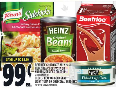 Beatrice Chocolate Milk 750 ml Heinz Beans Or Pasta Or Knorr Sidekicks Or Soup Or Clover Leaf Or Gold Seal Light Tuna Or Gold Seal Sardines 78 - 170 g