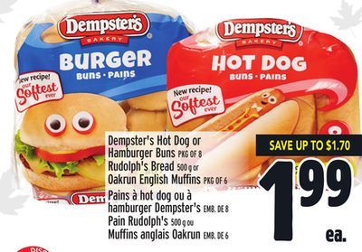Dempster's Hot Dog or Hamburger Buns Pkg Of 8 Rudolph's Bread 500 g or Oakrun English Muffins Pkg Of 6