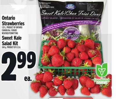 Ontario Strawberries 1.13 L - Product Of Ontario Canada No. 1 Grade Weather Permitting Or Sweet Kale Salad Kit 340 g - Product Of U.S.A.