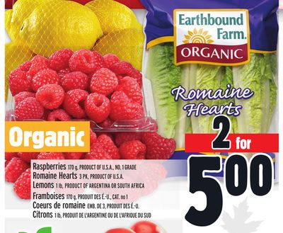 Raspberries 170 g - Product Of U.S.A. - No. 1 Grade Romaine Hearts 3 Pk - Product Of U.S.A. Lemons 1 Lb - Product Of Argentina Or South Africa