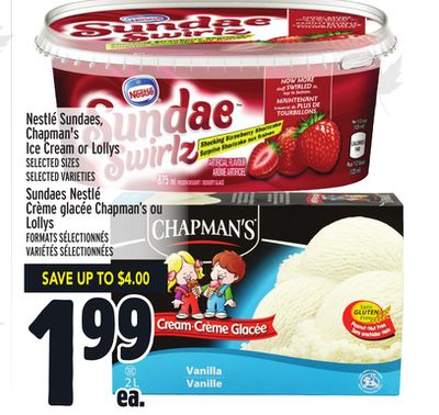 Nestlé Sundaes - Chapman's Ice Cream or Lollys