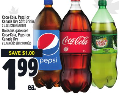Coca-cola - Pepsi or Canada Dry Soft Drinks