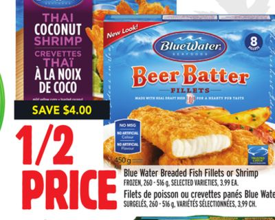 Blue Water Breaded Fish Fillets or Shrimp