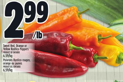 Sweet Red - Orange or Yellow Rustico Peppers