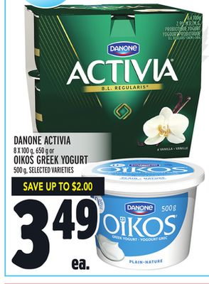 Danone Activia 8 X 100 g - 650 g or Oikos Greek Yogurt 500 g