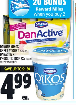 Danone Oikos Greek Yogurt 750 g or Danactive Probiotic Drinks 8 X 93 ml