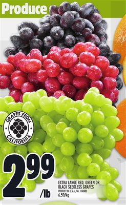 Extra Large Red - Green Or Black Seedless Grapes