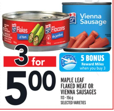 Maple Leaf Flaked Meat Or Vienna Sausages