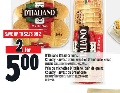 D'italiano Bread or Buns - Country Harvest Grain Bread or Grainhouse Bread