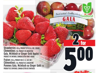 Strawberries 454 g - Product Of U.S.A. - No. 1 Grade Clementines 2 Lb - Product Of Argentina Gala - Mcintosh or Ginger Gold Apples 3 Lb Product Of Ontario
