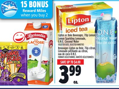 Lipton or Dole Beverages - 7up Lemon - Lemon Sparkling Lemonade - O.n.e. Coconut Water