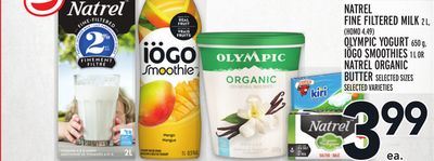 Natrel Fine Filtered Milk 2 L - (Homo 4.49) Olympic Yogurt 650 g - Iögo Smoothies 1 L Or Natrel Organic Butter