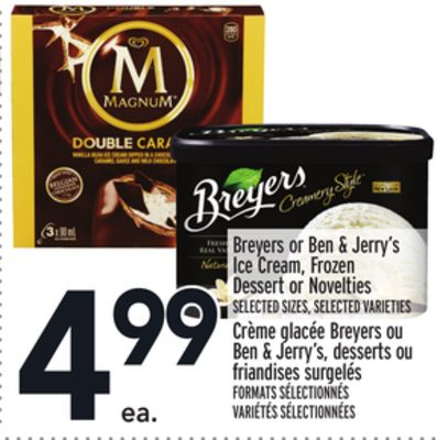 Breyers or Ben & Jerry's Ice Cream - Frozen Dessert or Novelties