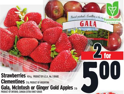 Strawberries 454 g - Product Of U.S.A. - No. 1 Grade Clementines 2 Lb - Product Of Argentina Gala - Mcintosh or Ginger Gold Apples 3 Lb Product Of Ontario - Canada Extra Fancy Grade