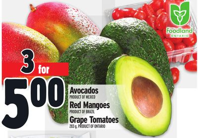 Avocados Product Of Mexico - Red Mangoes Product Of Brazil - Grape Tomatoes 283 g - Product Of Ontario