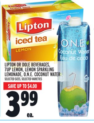 Lipton Or Dole Beverages 7up Lemon Lemon Sparkling Lemonade O.n.e Coconut Water