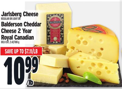 Jarlsberg Cheese Regular Or Light Or Balderson Cheddar Cheese 2 Year Royal Canadian Deli Cut - 2.42/100 g
